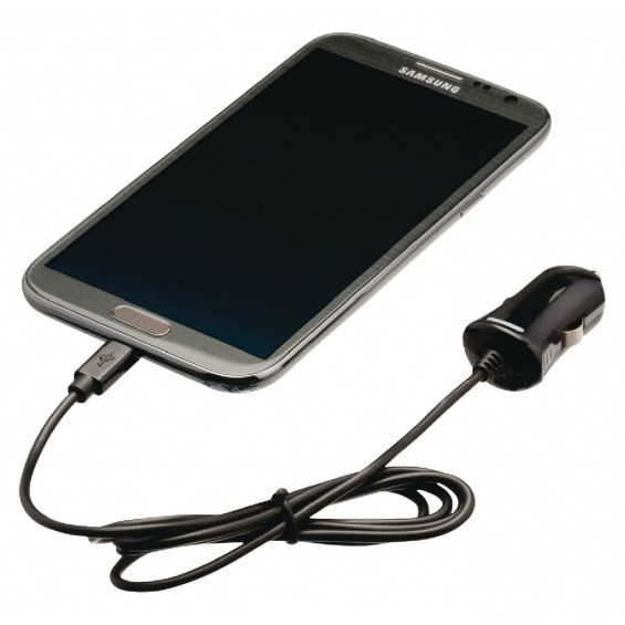 Cargador de auto micro USB, Micro USB macho - conector de automóvil de 12V, 1 m, de color negro 2.1A