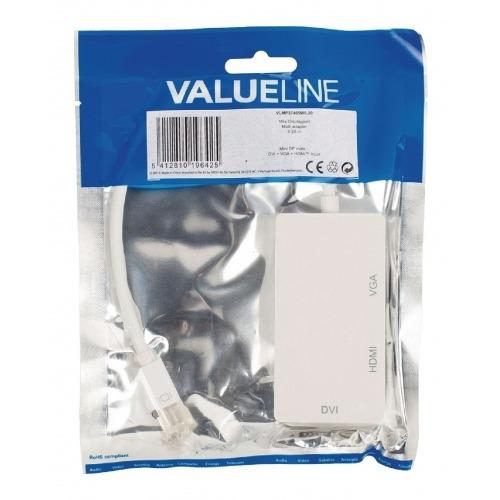 Multi adaptador Mini DisplayPort Mini DisplayPort - DVI + VGA + HDMI 0,20 m en color blanco