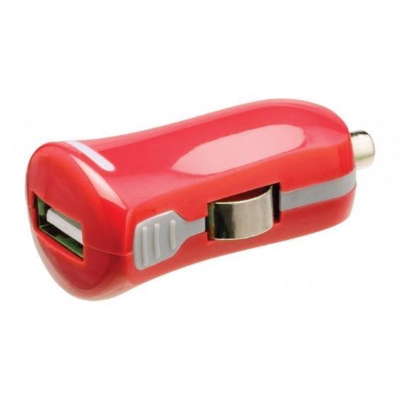 Cargador de automóvil USB, USB A hembra – conector de automóvil de 12V, de color rojo