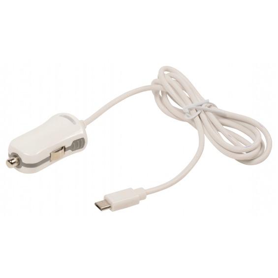 Cargador de auto micro USB, Micro USB macho - conector de auto de 12V, 1 m, de color blanco 2.1A