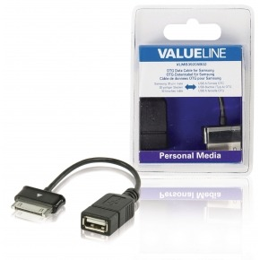 Cable de datos OTG para Samsung, 30 pines macho - USB A hembra, negro 0,20 m