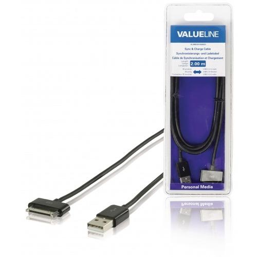 Cable de sincronización y carga para iPad /iPhone / iPod, Apple 30-pines - USB 2.0 A macho, negro 2,00 m