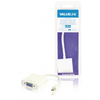 Cable Adaptador Mini Displayport, Mini Displayport Macho - Vga Hembra, Blanco 0,20 M