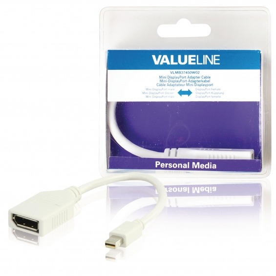 Cable adaptador mini DisplayPort, mini DisplayPort macho - DisplayPort hembra, blanco 0,20 m