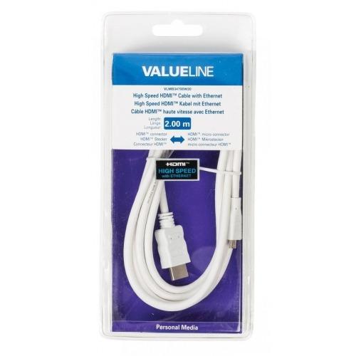Cable HDMI de alta velocidad con conector HDMI Ethernet - micro conector HDMI de 2.00 m en color bl