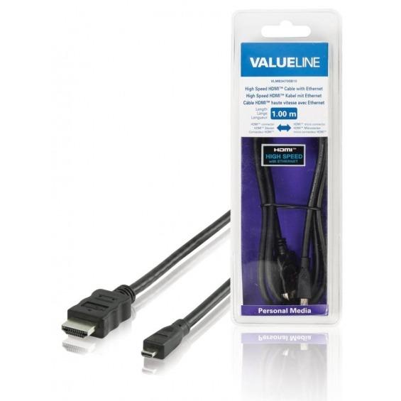 Cable HDMI de alta velocidad con conector HDMIEthernet micro conector HDMI de 2.00 m en color negr