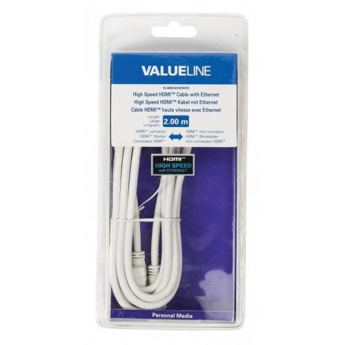 Cable HDMI de alta velocidad con conector HDMI Ethernet - mini conector HDMI de 2.00 m en color bla