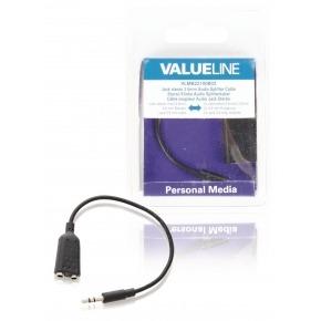 Cable divisor con jack de audio estéreo, 3,5 mm macho - 2x 3,5 mm hembra, negro 0,20 m