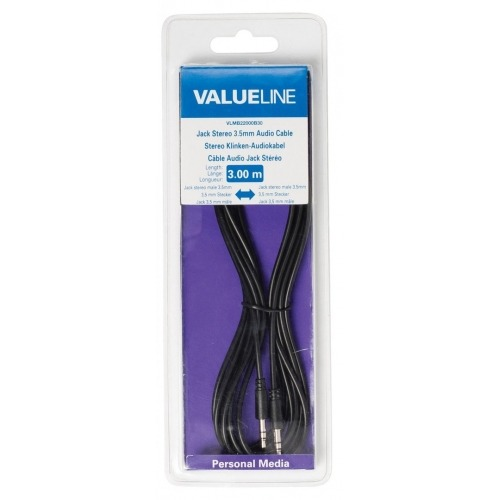 Cable con jack de audio estéreo, 3,5 mm macho - 3,5 mm macho, negro 3,00 m