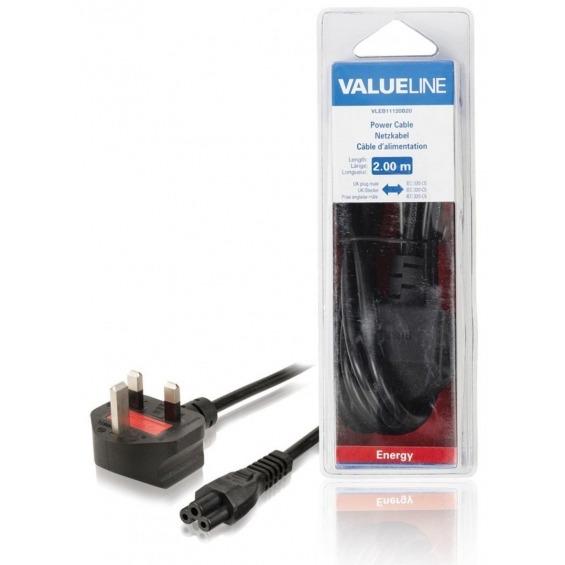 Cable de alimentación con enchufe macho para el Reino Unido - IEC-320-C5 de 2.00 m en color negro