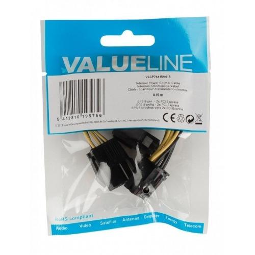 Cable divisor de alimentación interna, EPS 8 pines – 2x PCI Express, 0,15 m multicolor