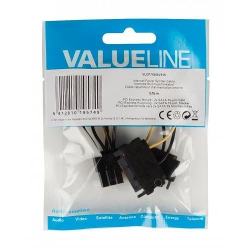 Cable divisor de alimentación interna, PCI Express hembra – 2 x SATA 15 pines macho, 0,15 m mult