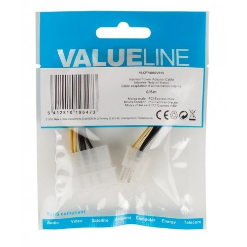 Cable de adaptador de alimentación interna, Molex macho – PCI Express macho, 0,15 m multicolor