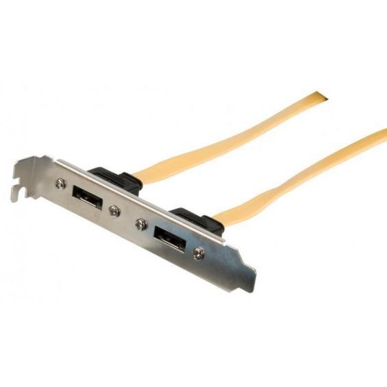 Soporte SATA 6Gb/s, 2x Soporte SATA 6Gb/s – 2x SATA 6Gb/s hembra, 0,50 m, amarillo