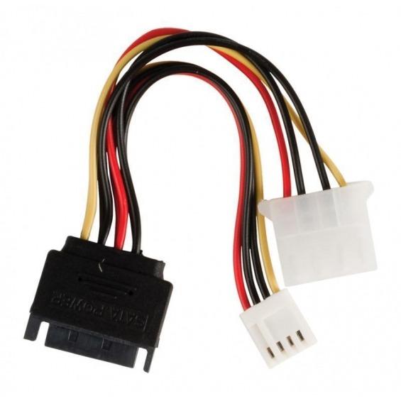 Cable adaptador de alimentación interna, SATA 15 pines macho – Molex hembra + FDD hembra, 0,15 m