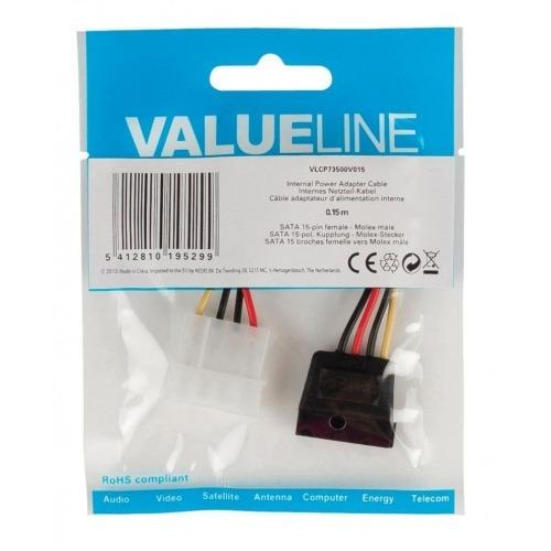 Cable adaptador de alimentación interna, SATA 15 pines hembra – Molex macho, 0,15 m multicolor