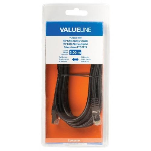 Cable de red FTP CAT6, RJ45 macho – RJ45 macho, 3,00 m, negro
