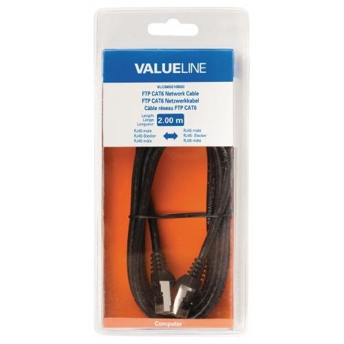 Cable de red FTP CAT6, RJ45 macho – RJ45 macho, 2,00 m, negro