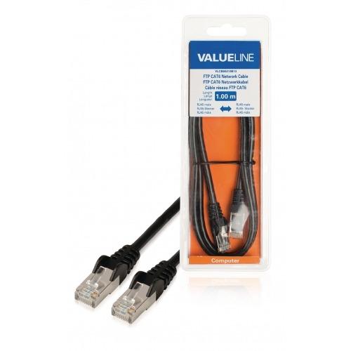 Cable de red FTP CAT6, RJ45 macho – RJ45 macho, 1,00 m, negro