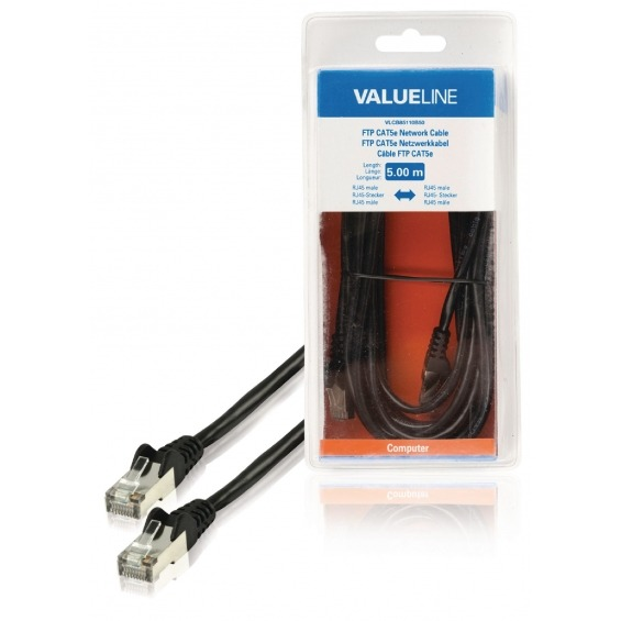 Cable de red FTP CAT5e, RJ45 macho – RJ45 macho, 5,00 m, negro