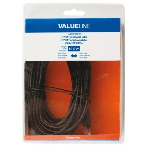 Cable de red UTP CAT5e, RJ45 macho – RJ45 macho, 10,0 m, negro