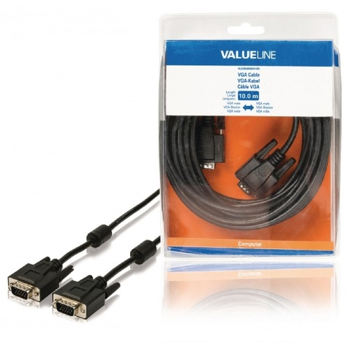 Cable VGA macho - VGA macho de 10,00 m en color negro