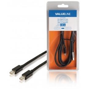 Cable Mini DisplayPort macho - Mini DisplayPort macho de 2,00 m en color negro