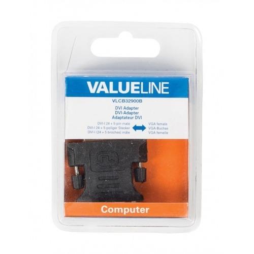 Adaptador DVI, DVI-I 24 + 5-pines macho - VGA hembra negro
