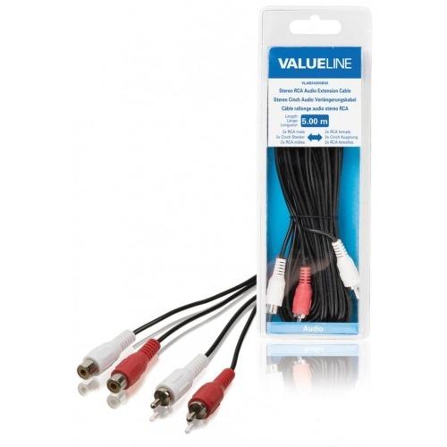 Cable de extensión de audio estéreo 2 RCA macho - 2 RCA hembra de 5.00 m en color negro