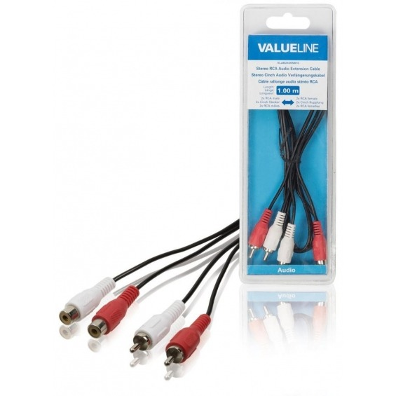 Cable de extensión de audio estéreo 2 RCA macho - 2 RCA hembra de 1.00 m en color negro
