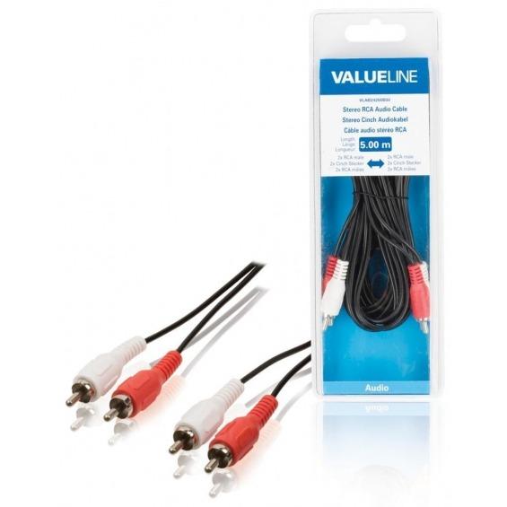 Cable de audio estéreo 2 RCA macho - 2 RCA macho de 5.00 m en color negro