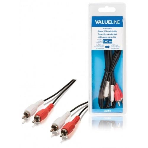 Cable de audio estéreo 2 RCA macho - 2 RCA macho de 2.00 m en color negro