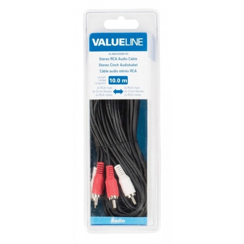 Cable de audio estéreo 2 RCA macho - 2 RCA macho de 10.00 m en color negro