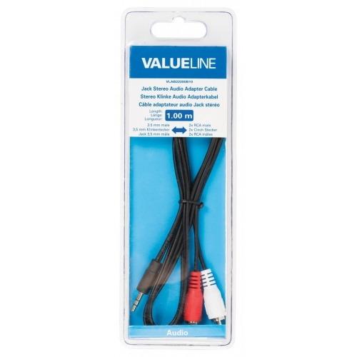 Cable adaptador de audio jack estéreo de 3.5 mm macho - 2 RCA macho de 1.00 m en color negro