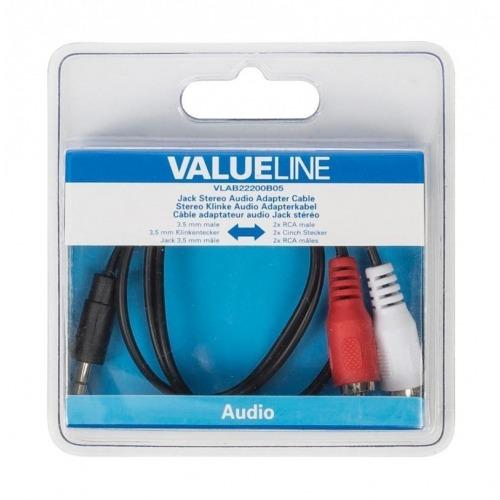 Cable adaptador de audio jack estéreo de 3.5 mm macho - 2 RCA macho de 0.50 m en color negro
