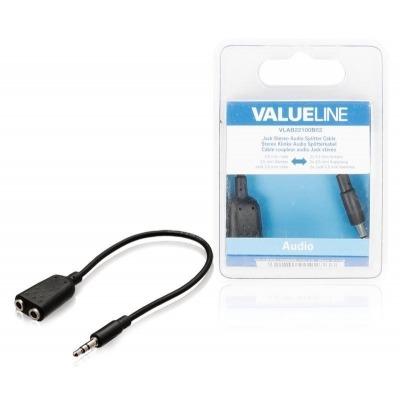 Cable Divisor De Audio Jack Estéreo De 3.5 Mm Macho - 2 3.5 Mm Hembra De 0.20 M En Color Negro