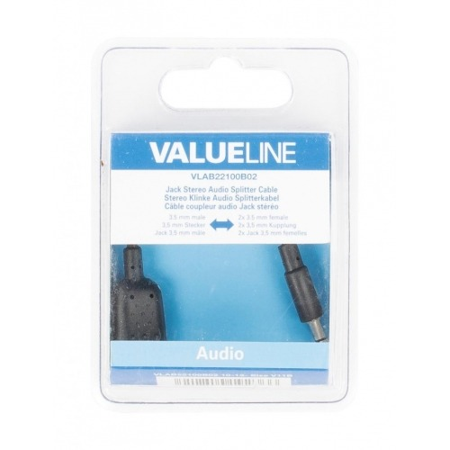 Cable divisor de audio jack estéreo de 3.5 mm macho - 2 3.5 mm hembra de 0.20 m en color negro