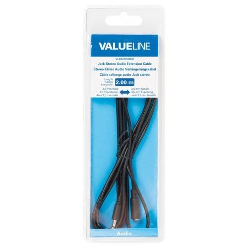 Cable de extensión de audio jack estéreo de 3.5 mm macho - 3.5 mm hembra de 2.00 m en color negro