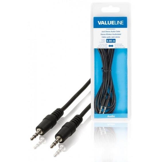 Cable de audio jack estéreo de 3.5 mm macho - 3.5 mm macho de 3.00 m en color negro
