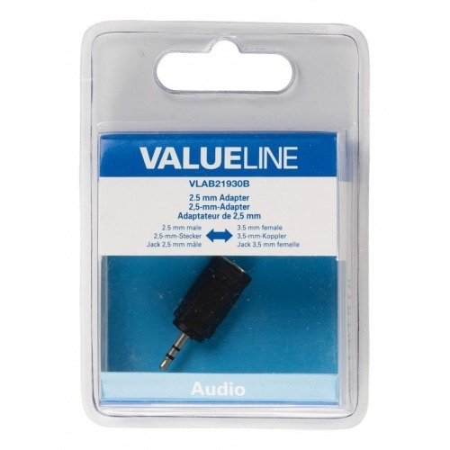 Adaptador de audio, 2,5 mm macho – 3,5 mm hembra, negro