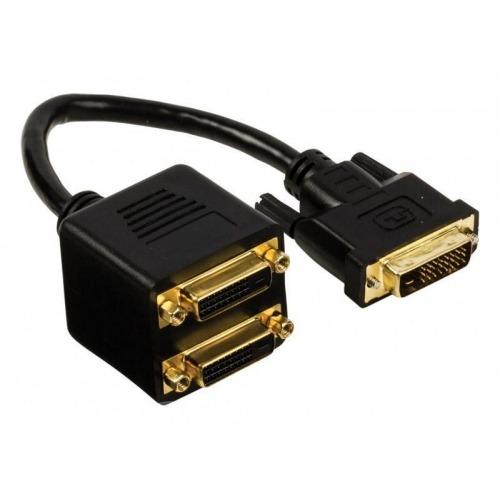 Cable divisor DVI-D 24+1-pines macho - 2x DVI-D 24+1-pines hembra de 0,20 m en color negro Valuelin