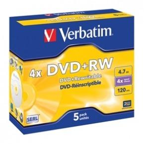 DVD+RW Matt Silver 5x 4.7GB 5 uds en estuche individual