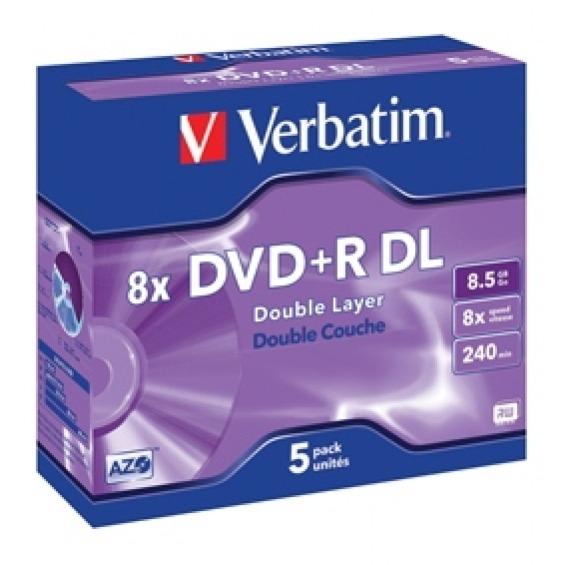 DVD+R doble capa 8x 8.5 GB 5 uds. en estuche individual