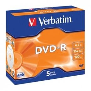 DVD-R 4.7 GB 16x Matt Silver 5 uds en estuche individual