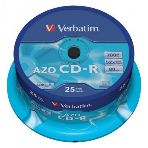Estuche con 25 CD-R AZO Crystal de 700MB