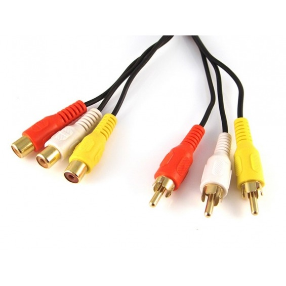 Cable Audio-Video (3xRCA-Macho/Hembra) 2m
