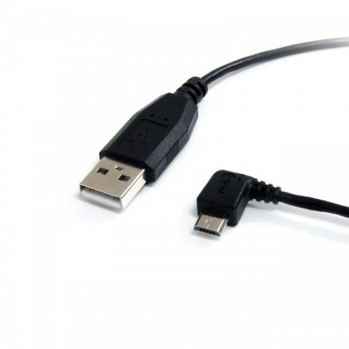 Cable microUSB en codo de 2.0m