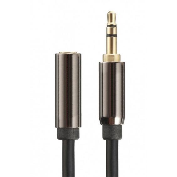 Cable de audio estéreo jack 3.5mm macho a hembra de 0.25m apantallado