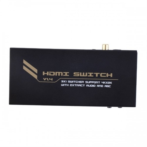 Conmutador / Switcher HDMI 3x1. UltraHD 4k x 2k con extracción de audio (Digital coaxial o Toslink) y ARC