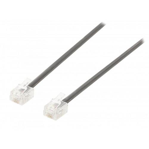 Cable de telefonico Negro RJ11 M/M 5m